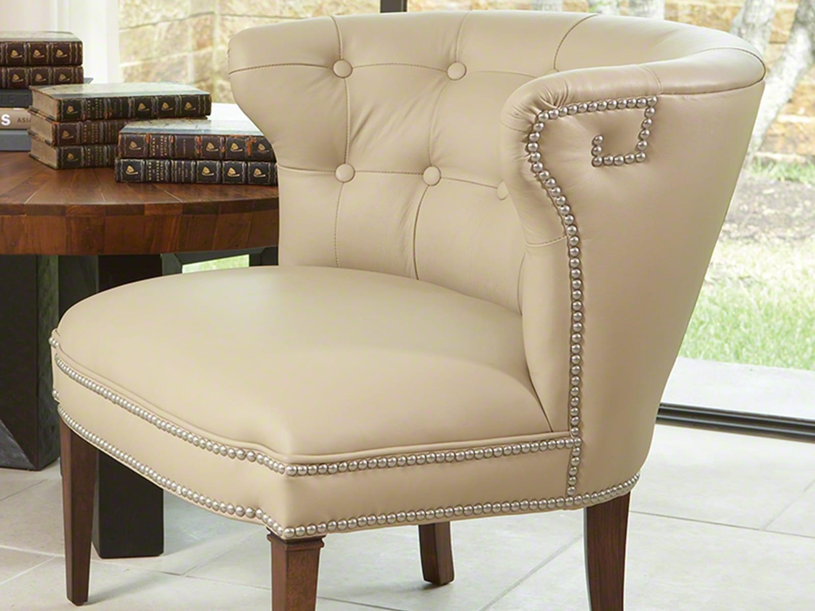 Klismos Leather Barrel Chair